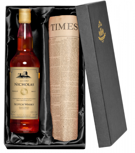 Personalised Aged Whisky and Newspaper